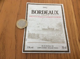 Etiquette Vin ** 1992 « BORDEAUX SUPERIEUR - JOSEPH DUVERNAY - BEAUCAIRE (30)» - Bordeaux