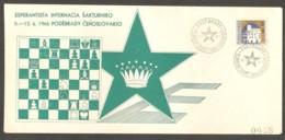 Czechoslovakia 1966 Podebrady - GREEN Chess Cancel On Commemorative Envelope - Scacchi