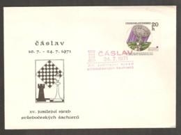 Czechoslovakia 1971 Caslav - RED Chess Cancel On Commemorative Envelope - Scacchi