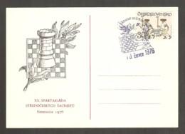 Czechoslovakia 1976 Neratovice - BLUE Chess Cancel On BLACK Commemorative Envelope - Chess
