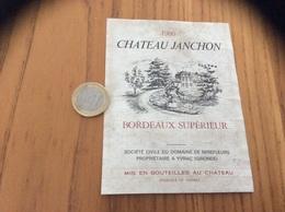 Etiquette Vin 1986 « BORDEAUX SUPERIEUR - CHATEAU JANCHON - DOMAINE DE MIREFLEURS - YVRAC (33)» - Bordeaux