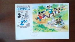 DOMINICA / DOMINIQUE - ENVELOPPE PREMIER JOUR + BLOC FEUILLET - WALT DISNEY MICKEY DONALD PLUTO - 1984 - Dominica (1978-...)