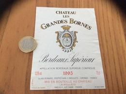 Etiquette Vin 1995 « BORDEAUX SUPERIEUR - CHATEAU LES GRANDES BORNES - ALAIN BERNARD - MOULIETS (33)» - Bordeaux