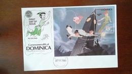 DOMINICA / DOMINIQUE - ENVELOPPE PREMIER JOUR + BLOC FEUILLET - WALT DISNEY PETER PAN - 1980 - Dominica (1978-...)