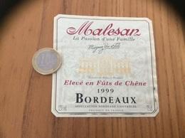 Etiquette Vin * 1999 « BORDEAUX Malesan - Le Palais De Roban - Magrez Père Et Fils (33)» - Bordeaux