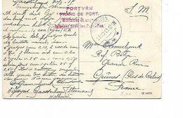 """SH 0594. CP Sm BAKHUIZEN 31.VIII.15 S/CP V. Guines (Fr.)- Marque """"PORT VRIJ/FRANC DE PORT/Militaires étrangers Internés - WW I"""