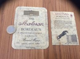 Etiquette Vin 1986 + Contre-étiquette « BORDEAUX Malesan - Le Palais De Roban - Bernard Magrez - LORMONT (33)» - Bordeaux