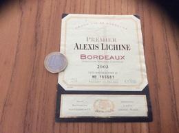Etiquette Vin 2003 Numéroté « BORDEAUX - PREMIER ALEXIS LICHINE - LANDIRAS (33)» - Bordeaux