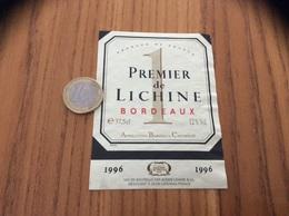 Etiquette Vin 1996 « BORDEAUX - PREMIER De LICHINE - ALEXIS LICHINE - LANDIRAS (33)» - Bordeaux