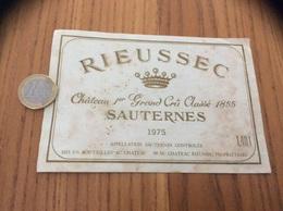 Etiquette Vin 1975 «SAUTERNES - RIEUSSEC - Château 1er Grand Crû Classé 1855 (33)» - Bordeaux