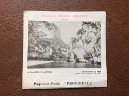 CARTE POSTALE MENU OFFICIERS  Paquebot-Poste PROVIDENCE  Messageries Maritimes  LES DÉTROITS DU TARN  Dîner OCTOBRE 1946 - Menus