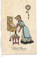 Carte Ancienne Humour / Fête / Bonne Année / Chien Déguisé Au Téléphone / H.H.I.W. Nr 826 - Humor