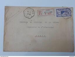 Enveloppe Recommandée Timbre Merson Yvert&Tellier 144 - Lille St Martin No 624 Vers Le Ministre De La Guerre ... Lot43 . - 1900-27 Merson