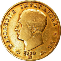 Monnaie, États Italiens, KINGDOM OF NAPOLEON, Napoleon I, 40 Lire, 1810/09 - Napoleonic