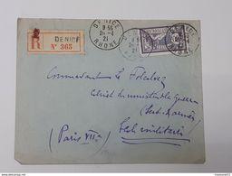 Enveloppe Recommandée De Denice Vers Le Commandant Le Folcalvez - Timbre Merson Yvert&Tellier 144 ... Lot43 . - 1900-27 Merson