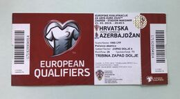 Football CROATIA  Vs AZERBAIJAN  Ticket  21. 03. 2019. . UEFA EURO 2020. QUALIFIERS - Biglietti D'ingresso