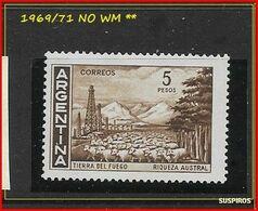 ARGENTINA   1969/1971  Proceres Y Riquezas Nacionales  GJ  1490   TIERRA DEL FUEGO  NO WM MINT ** - Argentina