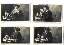4 Cartes 1905 / Première Missive / Poses De Berthe BODY Théâtre Sarah BERNHARDT / Lettre, Jeune Fille, Bougie - Artisti