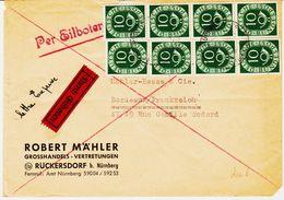 Allemagne Fédérale , De Ruckersdorf Tarif Par Expres En  1951,  Tarif à 80 Pf  2 Bandes De 4 Tp TB - [7] Federal Republic