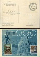 56574 Italia, Special Card And Postmark+cinderella,roma 1952 Mostra Francob.sportivo, Sport Stamp Exhibition 1952 Roma - Stamps