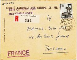 SUISSE , De Bale  2 Annahme, En 1955, Recommandé Sur Enveloppe SNCF   TB - Marcophilie