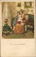 Artiste Lithographie Ebner, Pauli, Es War Einmal, Mutter Liest Kindern Eine Geschichte Vor - Unclassified