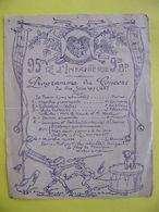 Programme Concert Du 95 ème Régiment D'infanterie 9 ème Bataillon 24 Juin 1917 WWI - 1914-18