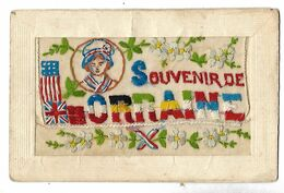 SOUVENIR DE LORRAINE CARTE BRODEE CPA 2 SCANS - War 1914-18
