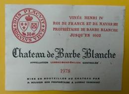 15548 - Château De Barbe Blanche 1978 Lussac-Saint-Emilion - Bordeaux
