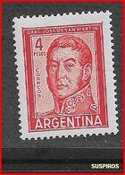 ARGENTINA   1959/1971  Proceres Y Riquezas Nacionales     GRAL JOSE DE SAN MARTIN   GJ 1138  MINT - Argentine
