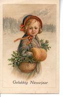 Belle Illustrée Signée I. ST . Petite Fille Victorienne Au Manchon Et Au Sapin - Nouvel An