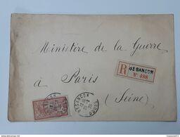 Timbre Merson Yvert&Tellier No 119  Enveloppe Recommandée Envoyée De Besançon Vers Le Ministre De La Guerre .. Lot43 . - 1900-27 Merson