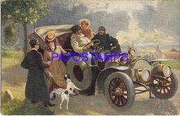140348 ART ARTE SIGNED PEOPLE IN CAR AUTOMOBILE AND DOG  POSTAL POSTCARD - Ilustradores & Fotógrafos