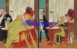 140350 ART ARTE HUMOR TWO TYPES OF COUPLES IN BAR POSTAL POSTCARD - Illustrators & Photographers
