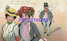 140362 ART ARTE HUMOR TWO WOMEN AND THE MAN FOLLOWING HER POSTAL POSTCARD - Illustrators & Photographers