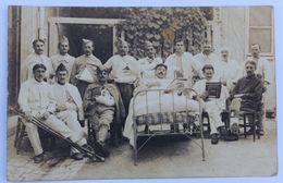 Carte Photo Hôpital Auxiliaire Militaire De Cognac  Plusieurs Soldat Guerre 14-18 WW1 Photographe Ph. Lavaud Cognac 1918 - 1914-18