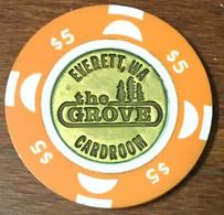 USA WASHINGTON EVERETT THE GROVE CASINO CARD ROOM CHIP $5 JETON TOKEN COIN - Casino