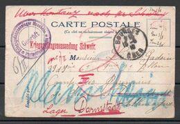 Carte Au Départ De Bourges Pour Camp De Prisonniers En Allemagne Guerre 14-18 (cachet De Censure) - Storia Postale