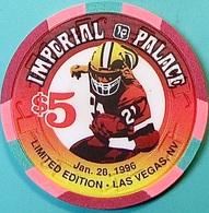 $5 Casino Chip. Imperial Palace, Las Vegas, NV. Super Bowl 1996. O53. - Casino
