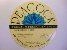 TGE99016 - Grande étiquette De Fromage BRIE PEACOCK EXPORT - LOS ANGELES USA - PAON Fromagerie De Corcieux Vosges 88AE - Cheese