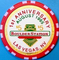 $5 Casino Chip. Boulder Station, Las Vegas, NV. 1st Anniversary. O54. - Casino