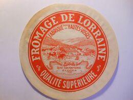 GG001 - Grande étiquette De Fromage Fromagerie René Grandemange à ELOYES Vosges - Cheese
