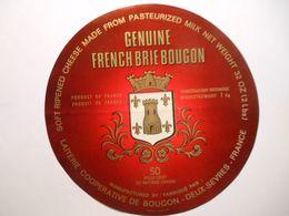 GG004 - Grande étiquette De Fromage GENUINE FRENCH BRIE Coopérative De BOUGON Deux-Sèvres - Cheese
