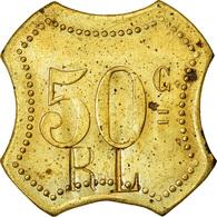 Monnaie, France, Contremarque R L, Atelier Incertain, 50 Centimes, SUP, Laiton - Monétaires / De Nécessité
