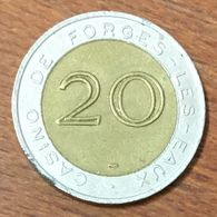 76 FORGES LES EAUX CASINO GROUPE PARTOUCHE JETON DE 20 FRANS MONNAIE DE PARIS SLOT MACHINE EN MÉTAL CHIP COIN TOKEN - Casino
