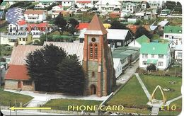 CARTE-MAGNETIQUE-10£-FALKLAND ILES-Cable & Wireless-STANLEY-CHURCH-TBE-RARE - Islas Malvinas