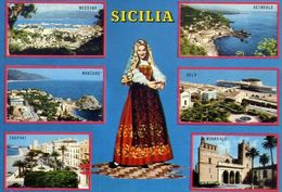 Sicilia - Messina - Acireale - Mazzaro - Gela - Trapani - Monreale - Formato Grande Viaggiata – E 17 - Non Classificati