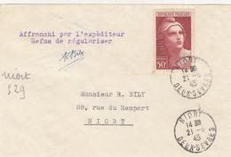 SEUL SUR LETTRE. N° 732. GANDON 50Fr. RECOMMANDÉ PROVISOIRE NIORT POUR NIORT /  2 - 1921-1960: Modern Period