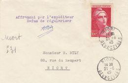 SEUL SUR LETTRE. N° 733. GANDON 100Fr. RECOMMANDÉ PROVISOIRE NIORT POUR NIORT /  2 - 1921-1960: Periodo Moderno