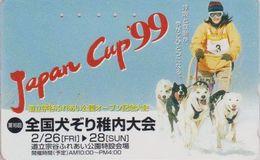 Télécarte JAPAN / 110-016 - CHIEN HUSKY Traîneau Course Musher CUP 99 - DOG Sleddog - Animal JAPAN Phonecard - 1472 - Chiens